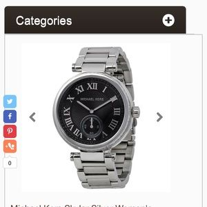 Michael Kors Accessories - Michael Kors Skylar Silver Black Steel Watch